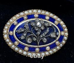 Rose Cut Diamond, Seed Pearl 14k Gold Antique Cobalt Blue Forget Me Not Brooch