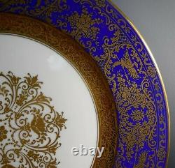 Rosenthal Chine Gold Incrustées Filigree Bleu Cobalt Ensemble De 12 Assiettes De Service 11