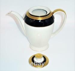 Rosenthal, Eminence, Bleu Cobalt D'or Winifred, 5 Tasse De Café Pot Avec Limace, 8 1/4