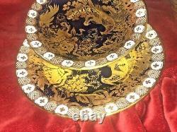 Royal Crown Derby Aves Cobalt Blue & Or Paradise Heraldic 3pcs Tasse À Café