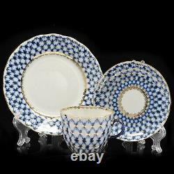 Russe Imperial Lomonosov Porcelain Coffee Set 6/20 Cobalt Net, 22k Gold. Nouveau