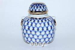 Russe Imperial Lomonosov Porcelain Tea Caddy Cobalt Net 22k Gold Rare Russia