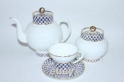 Russe Imperial Lomonosov Porcelain Tea Set Cobalt Net 6/14 Personnes 22k Gold