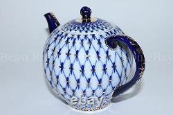 Russe Imperial Lomonosov Porcelaine Hard Teapot Tulip Cobalt Net Gold Rare Lfz