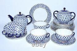 Russe Imperial Lomonosov Porcelaine Tea Set Cobalt Net 6/20 22k Or Original