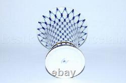 Russe Imperial Lomonosov Porcelaine Vase Empire Cobalt Net 22k Gold Russia Rare