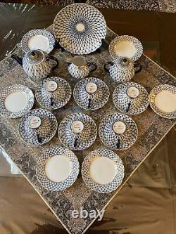 Russe Lomonosov Porcelain Tea Set Cobalt Net 6/22 22k Or Original