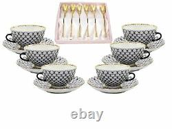Russian Cobalt Blue Net 18-pc Tea Cup Set St Petersburg 24k Gold Bone Chine
