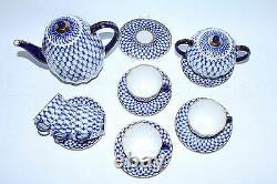 Russian Imperial Lomonosov Porcelain Coffee Set Cobalt Net 6/14 22k Or