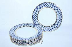 Russian Imperial Lomonosov Porcelain Set 6 Assiettes Dessert Cobalt Net Gold 7,48