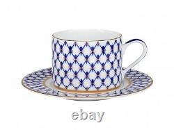 Russian Imperial Lomonosov Porcelain Set Tea Cup, Soucoupe, Théière Cobalt Net Gold