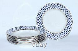 Russie Impérial Lomonosov Porcelaine Set 6 Plaques Profondes Cobalt Net Soupe 22k Or