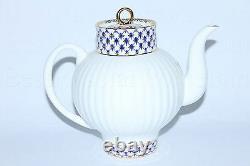 Russie Impériale Lomonosov Porcelaine Bone Théière Cobalt Net 22k Or Russie Lfz