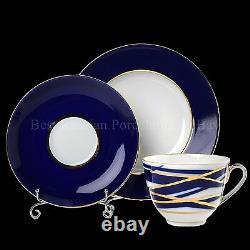 Russie Impériale Lomonosov Porcelaine Ensemble De Thé Cocoon 6/20 22k Or Russie Cobalt