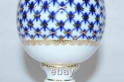 Russie Impériale Lomonosov Porcelaine Oeuf De Pâques Cobalt Net 22k Or Russie Rare