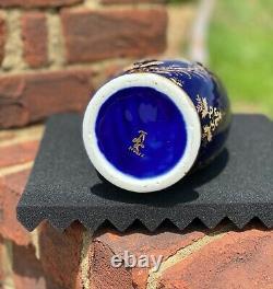 Sevres Cobalt Porcelaine Bleue Peinte À La Main Or Levé 13 Vase / Pitcher Signé