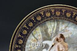 Sevres Français Leda & The Swan Cobalt Blue & Gold 9 1/2 Nude Portrait Plate