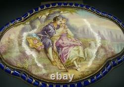 Sevres Françaises Porcelaine Cobalt Blue Covered Box Lovers Ornée D'or Et Bronze 1880