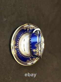 Spode Lancaster Cobalt Flat Cup Et Soucoupe Blue Gold Incrustée