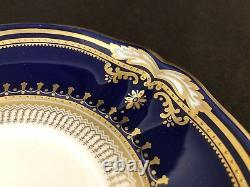 Spode Lancaster Cobalt Soupe À La Crème Pieds Bol Et Saucer Bleu Or Incrusté