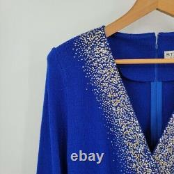 St. John Soirée Cobalt Bleu Santana Knit Or Argent Robe Embellie 12
