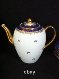 Superbe Antique Schonwald 202 Porcelaine Cobalt Blue And Gold Tea Ensemble Pour 6