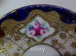 Superbe Coupe Vintage Et Saucer Flow Blue Cobalt Or Moriage Roses