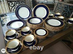 Syracuse Chine Reine Anne Cobalt Blue Gold Beautiful Service Set For 8