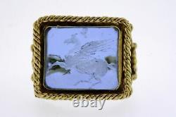 Tagliamonte 18k Gold Ring Cobalt Blue Venetian Glass Pegasus Taille 5,75