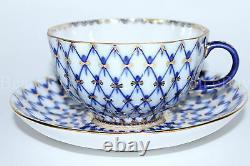 Tasse À Thé En Porcelaine Impériale Russe Lomonosov Et Soucoupe Tulip Cobalt Net Gold