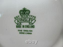 Teacup Soucoupe Aynsley Cabbage Rose Cobalt Blue Gold Accents Vtg Angleterre 2 Pcs
