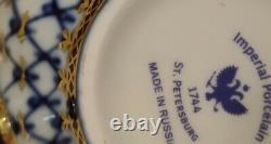 Thé Impérial En Porcelaine Pour 6 Personnes. Filet De Cobalt. Or. Lomonosov
