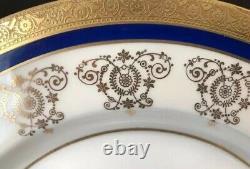 Theodore Haviland Limoges Dinner Plates Gold Incrusted Cobalt Blue Set5 New York
