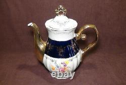 Thun Karlovarsk Cobalt Blue Gold Accent Fine Porcelain China Coffee / Tea Set