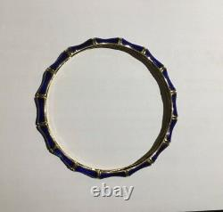Tiffany & Co. 18k Or Jaune Enamel Vintage Cobalt Bleu Bamboo Bangle Bracelet