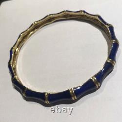 Tiffany & Co. Émail Gold Jaune Vintage Cobalt Blue Bamboo Bracelet