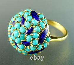 Turquoise Cabochon Émail Bleu Cobalt Cluster Or Jaune 18 Carats Bague Domed Bombe