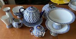 Unique Iconique Russe Impériale Lomonosov Porcelaine Cobalt Net Tea Set 22gold