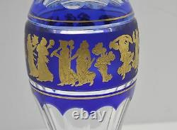Val St Lambert Crystal Cobalt Blue Gold Gilt 10 1/4 Danse De Flore Pericle Vase