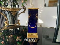 Vase De Porcelaine De Sevres D'or Bleu Cobalt Français Antique! Base Bronze Top 18ème Cen