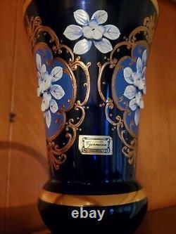 Vase Egermann Soufflé À La Main Cobalt Gravé En Cristal 10 Pouces Avec Des Accents D'or 24k