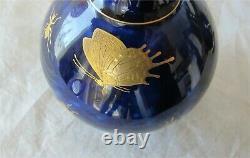 Vase En Porcelaine De Sèvres X 2 Insectes D'or Bleu De Cobalt Bleu Royal Antique Superbe 1848