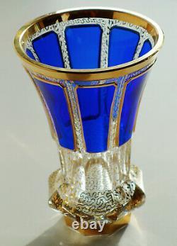 Vase Évasé Vintage Moser Bohemian Cobalt Blue Cabochon