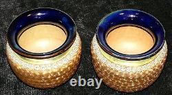 Vases Royal Doulton 1900's Cobalt Blue Gold Signé Numéroté