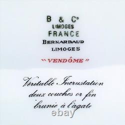 Vendome De Bernardaud Assiette En Or Incrustée De Cobalt