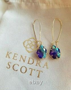 Very Rare Kendra Scott Boucles D'oreilles Irisé Cobalt Cathy En Or