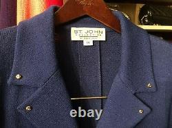 Veste De Collection St. John Sz 14-16 Cobalt Blue Withgold Hardware Santana Knit