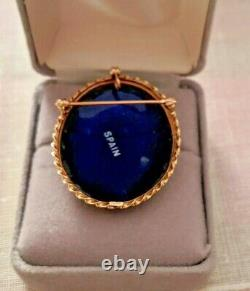 Vieille Fleur De Lis 14k Pendentif Broche D'or Espagne Cobalt Bleu Émail Porcelaine