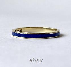 Vintage 14k Or Jaune Cobalt Bleu Guilloche Enamel Band Stacker Ring Sz 7,25