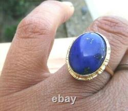 Vintage 14k Or Massif Premium 5 Carats Bleu Cobalt Anneau Lapis Lazuli 3,6 Grammes